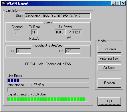 WLanExper Screenshot (Main Window)