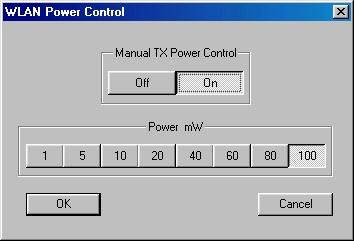 WLanExper Screenshot (Power Settings Window)